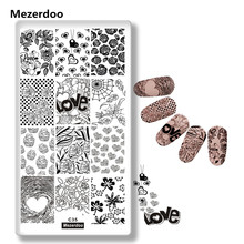 1Pc Stamping Nail Art Love Heart Valentine Rose Sweet Dessert Stamp Plate Rectangle Template Deco Manicure Image Tool C35