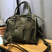 Vendange мода Бостон сумка из коровьей кожи сумки в заклепках ручной работы пояса натуральной crossbody 2458
