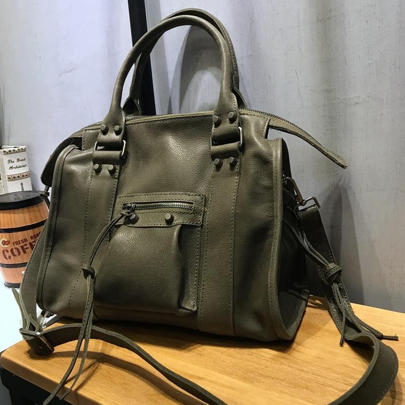 Vendange Fashion Boston Bag Cow Leather Rivet Totes Handmade Genuine Leather Crossbody Bag 2458