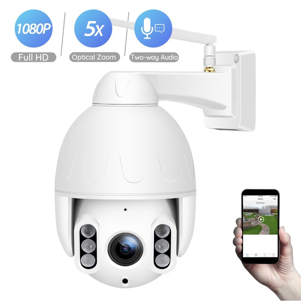 BESDER 1080P Wifi PTZ IP Camera Outdoor 5X Optical Zoom 2.7-13.5mm Lens Wireless Security Camera CCTV Speed Dome Camara CamHi