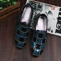 CANGMA Hombres Visten Zapatos Italianos Holgazanes de Boda de Lujo 2017 Marca Casual Negro Azul Lentejuelas de Los Hombres Zapatos de Los Planos Sapatos de Casamento