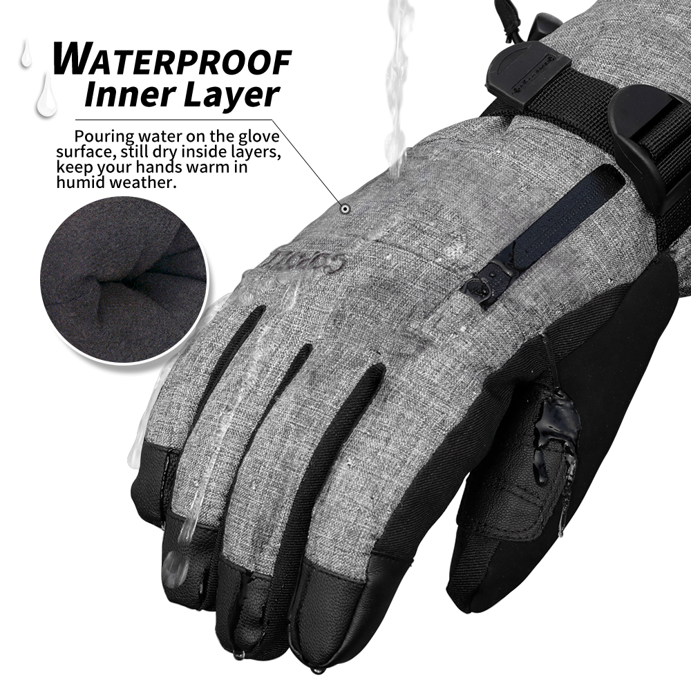 Image 2 - COPOZZ Ski Gloves Waterproof Gloves with Touchscreen Function Snowboard Heated Gloves Warm Snowmobile Snow Gloves Men Women-in Skiing Gloves from Sports & Entertainment