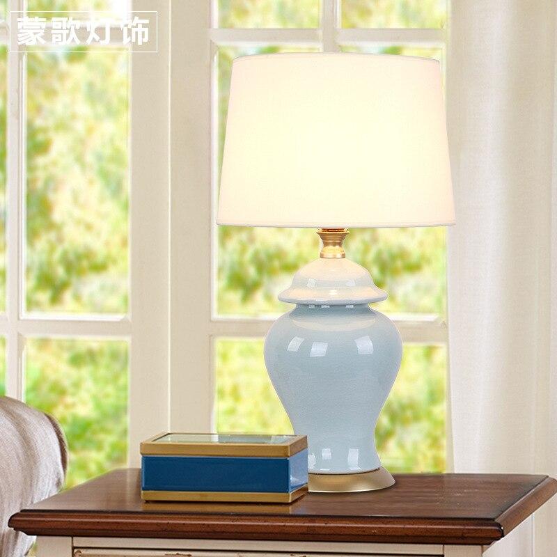 Туда Бесплатная доставка Современные Дизайн настольная лампа американский страна Стиль синей вазе Керамика Настольная лампа для Гостиная ...