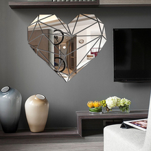 3D Mirror Wall Stickers Acrylic Sticker Love Heart For Kids Room Living Bathroom DIY Home Decoration