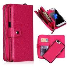 Destacável zíper flip caso carteira de couro para iphone 11 pro max xs max xr 6 s 7 plus 8x5 5S se multifuncional bolsa caso