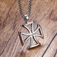 Vnox Mens Necklace Stainless Steel Vintage Hollow Maltese Iron Cross Pendant Necklace Ordre Du Temple