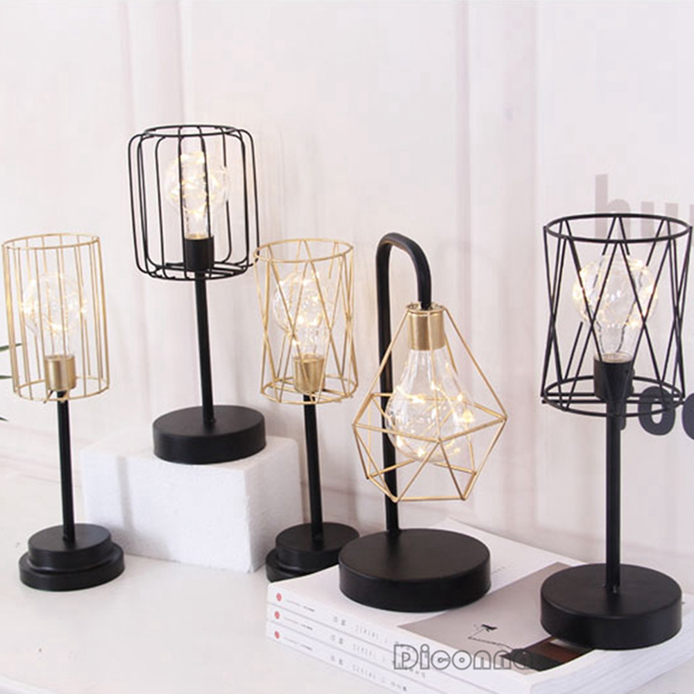 New Nordic Style LED Light 3D Geometric Metal Industrial Tea Light Bed Side Home Decor Light