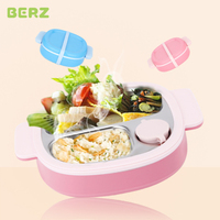 BERZ Children Baby dishes Plate stainless steel Insulation Tableware Set Kids Baby for Feeding Baby Eat Food Sub grid Bowl Plate