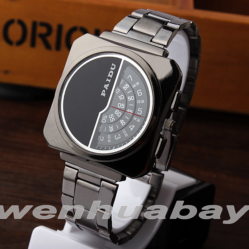 PAIDU Unique Black Stainless Steel Band Wrist Watch Mens