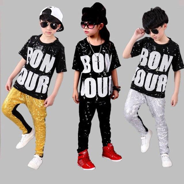 Niños niña Boy Jazz Dance Niñas disfraces de danza de jazz para Niñas  sequin hip hop ef81072be9b