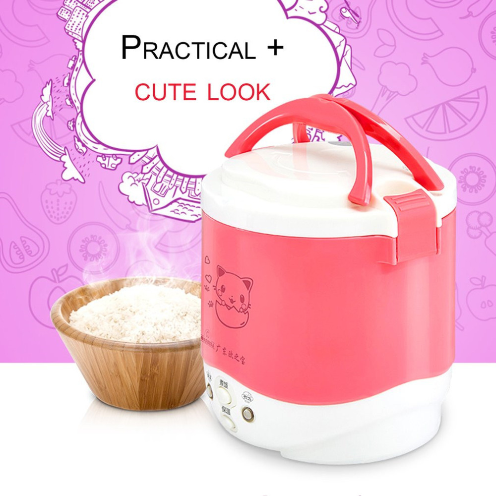 Cute Cat Elect 1L Mini Cooker Electric Rice Cooker Auto Rice Cooker With Cute Cat Pattern For Rice Soup Porridge Steamed Egg dmwd 110v multifunction electric skillet stainless steel hot pot noodles rice cooker steamed egg soup pot mini heating pan