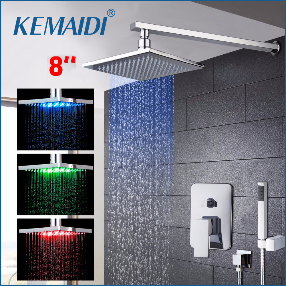 KEMAIDI LED Three Color Changing Rainfall&Waterfall Bath Shower Panel Wall Mounted Message Shower Set With Hand Shower 3 color changing bath rainfall shower 16 round top sprayer w arm wall mount
