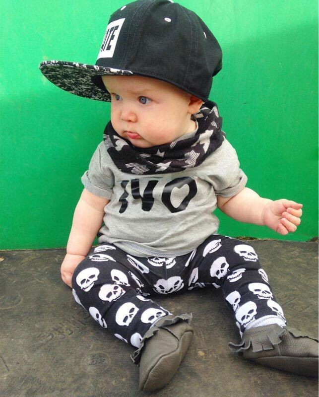 9503fe6d3 2018 summer fashion baby boy clothes newborn baby boys clothing set cotton  letters NO T shirt+Skull Pants Infant clothes-in Clothing Sets from Mother  ...