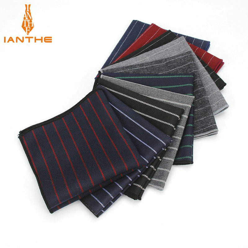 Brand New Men's Hankerchief Scarves Striped Business Suit Hankies 100% Cotton Casual Men Vintage Pocket Square Handkerchiefs