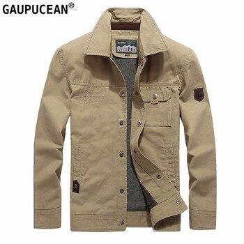 Men Outwear 100%Cotton Breathable Buttons Pockets Khaki Green Black Casual Street Wear Spring Autumn Male Slim Loose Man Jacket