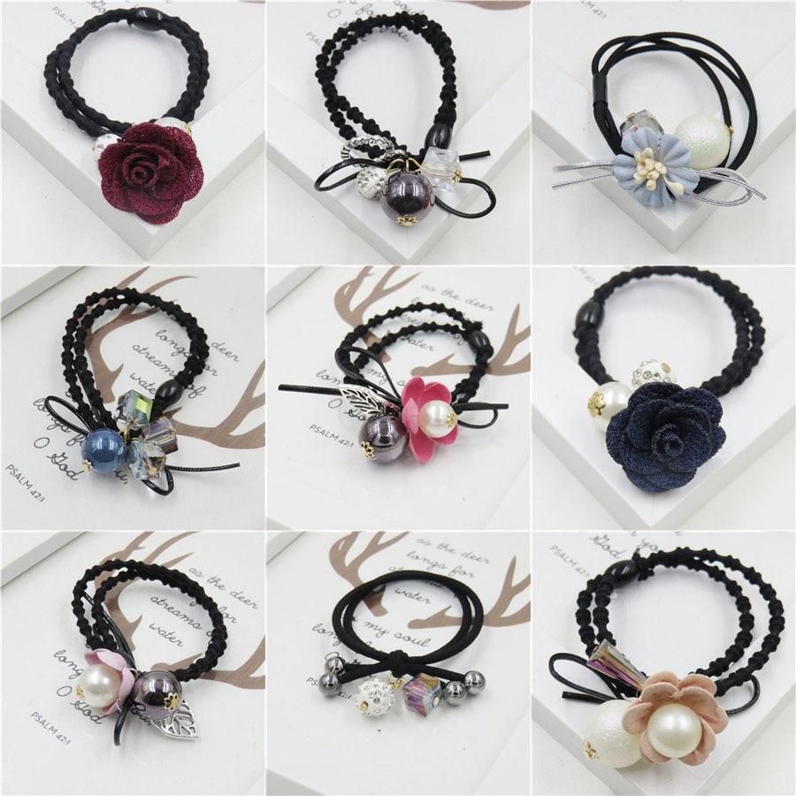 1PCS Creativity Ball Elastic Hair Bands For Girl Handmade Headband Scrunchy Kids Hair Accessories For Women 66 Styles Optional