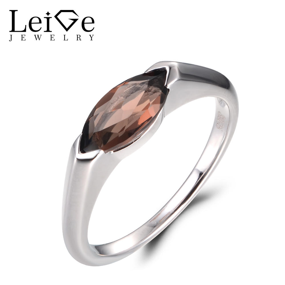 LeiGe Jewelry Vintage Rings Natural Smoky Quartz Rings Cocktail Rings Marquise Cut Brown Gemstone Rings Real 925 Sterling Silver