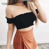 2018 Sexy Cotton Tank Tops Women Clubwear Off Shoulder Short Sleeve Blouses Strapless Crop Top Ruched