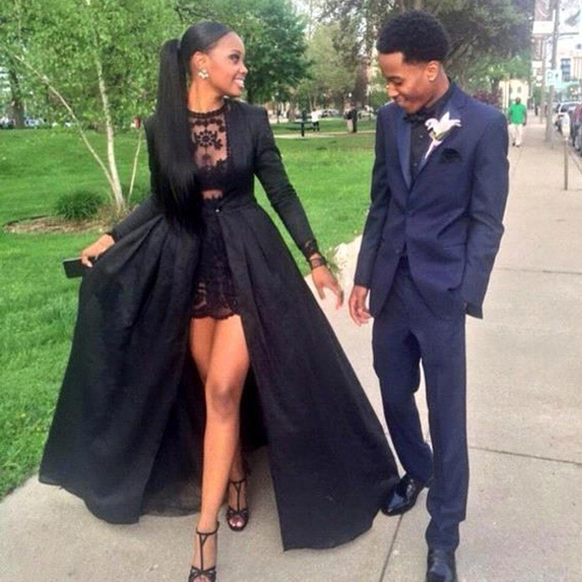 0c05349b6b Ankara Style Black Lace Two Pieces Prom Dresses Detachable Coat Sheer Long  Sleeves High Low Evening