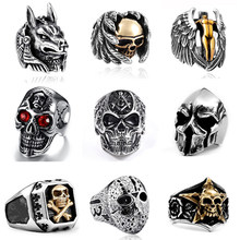 LMIKNI Gothic Punk Men Ring Jewelry Accessories 2019 Fashion Vintage Statement Hip Hop Skull Rings For Men Drop Shipping(China)