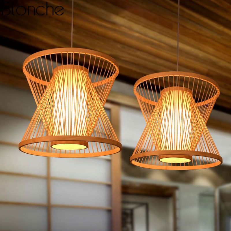 Japanese Bamboo Led Pendant Lights Fixtures Living Room Vintage Hanging Lamp Restaurant Home Loft Decor Suspension