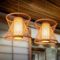 Japanese Bamboo Led Pendant Lights Fixtures Living Room Vintage Hanging Lamp Restaurant Home Loft Decor Suspension Luminaire E27