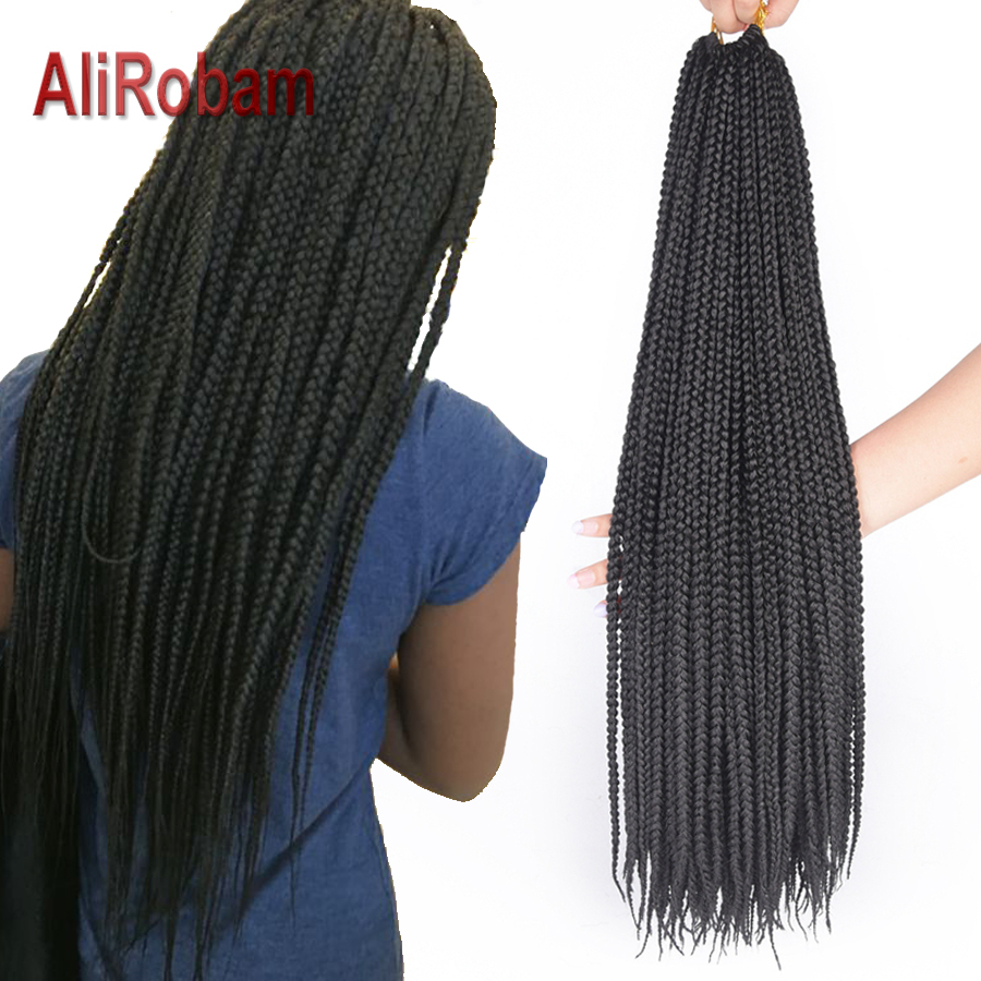 AliRobam Box Braids Hair Synthetic 14/18/22inch Crochet Hair Extensions Pure Or mix Ombre Braiding Hair Braids 22 Strands/pack