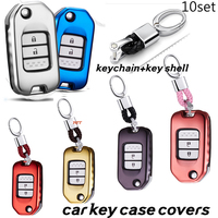 10SET Soft TPU Car Remote Key Shell Cover Holder For Honda XRV CRV Accord Crown Civiv Spirior Fit Jade Car Key Case Accessories