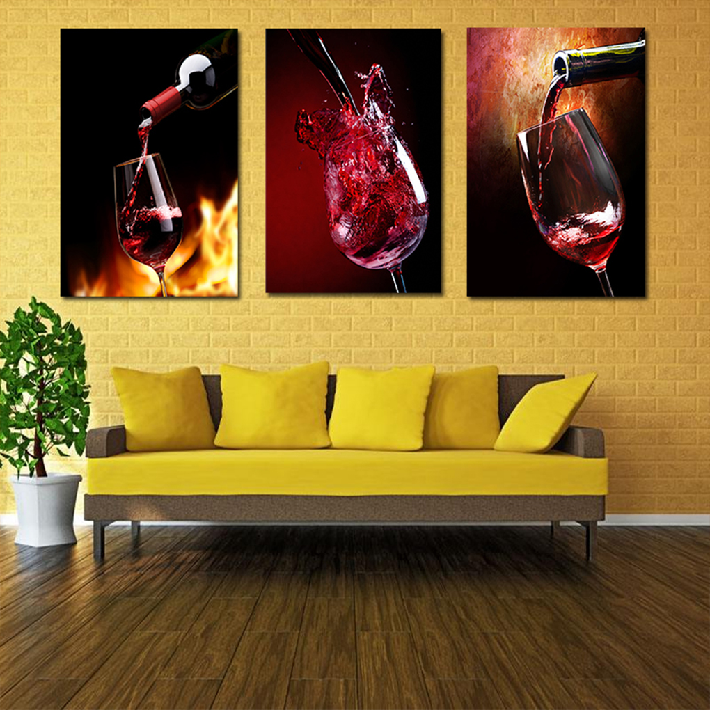 Novel 30 x 40cm Modern Style Red Wine Glass Wall Canvas Painting ...