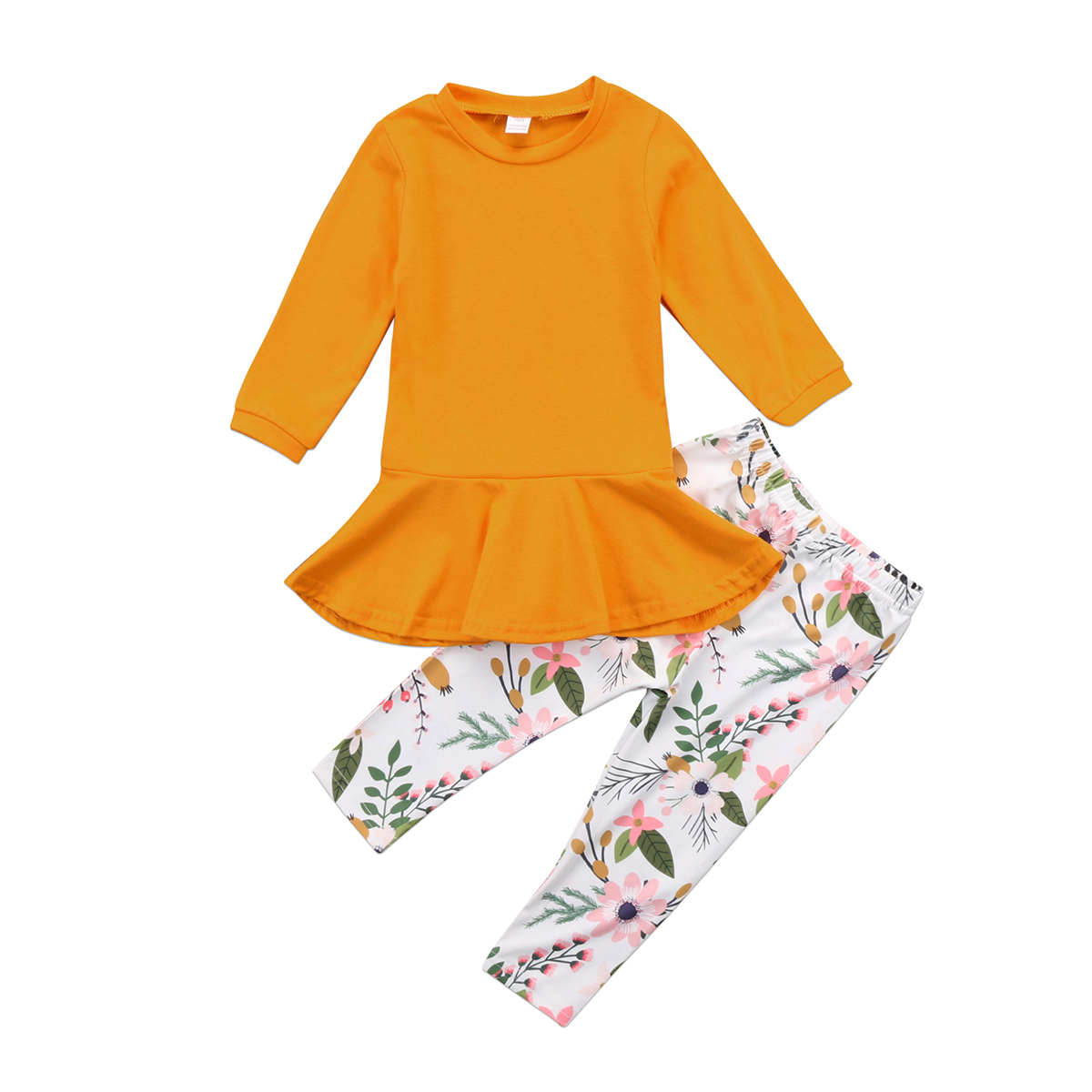 Toddler Kids Girls Outfits Clothes T-shirt Tops Dress+Floral Pants Casual Kids Autumn New Sets