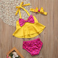 3pcs Baby Set New Toddler Kids Baby Girls Clothes Summer Yellow Sleeveless Bow Tankini Bikini+Sequins Bottom+Headband Beachwear