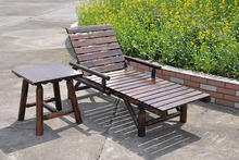 Outdoor Lounge Chairs Wood Preservative Wood Balcony Patio Lounger Chairs Fold Flat Farmhouse Recliner Chair Teahouse
