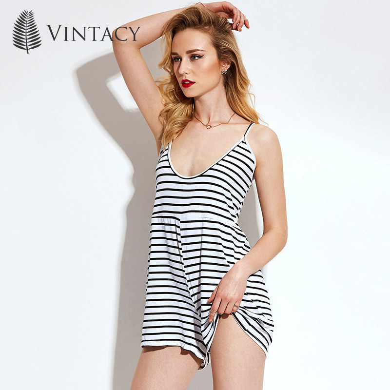 Vintacy Women Summer Black White Playsuits Short Jumpsuits Striped Fashion Modern Thin Rompers Sleeveless Loose Women