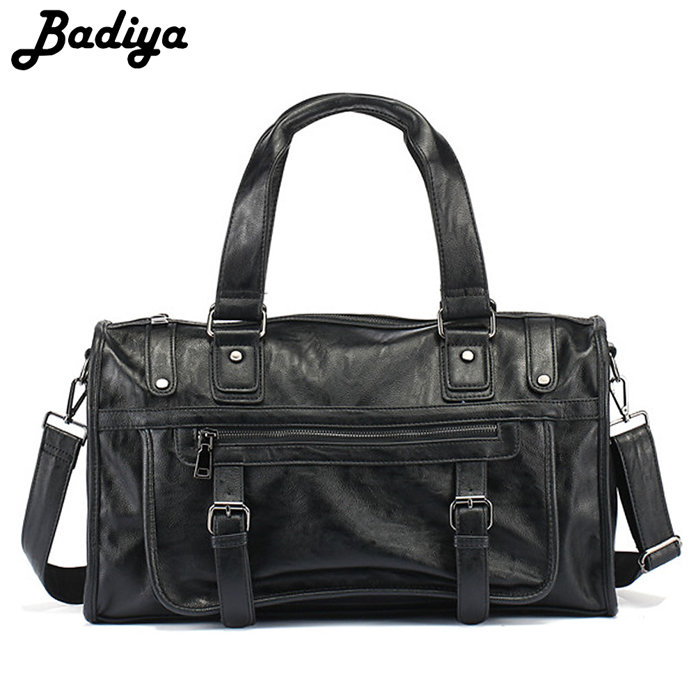 Large Capacity Men Travel Bag PU Leather Solid High Quality Casual Tote Single Shoulder Bag Male Business Handbag sac homme