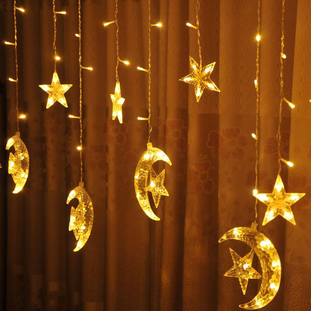 Star moon light 2 5m 138 led curtain string lights indoor - Decorating with string lights indoors ...