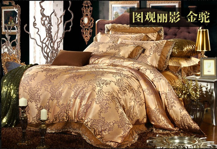 Luxury Gold Camel Lace Satin Jacquard Bedding Set King Queen Size Duvet Cover Quilt Bed In