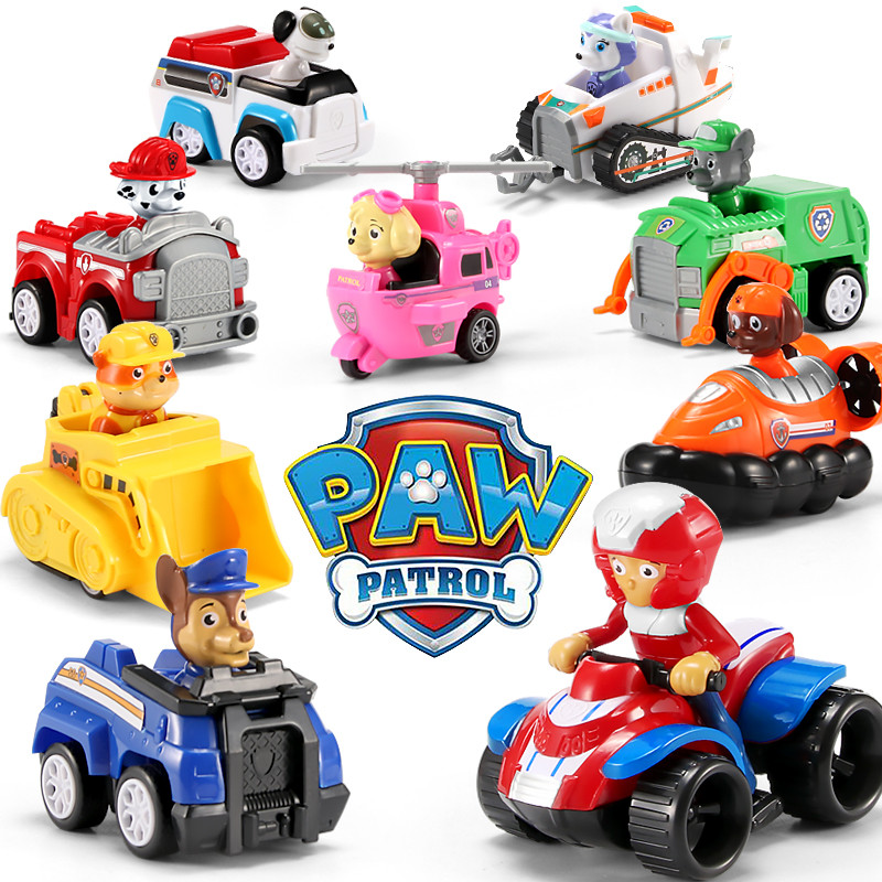 9Pcs Paw Patrol Dog Birthday Set Puppy Patrol Cartoon Character Chase  Anime Action Figure Model Psi Patrol Toy  Children Gift