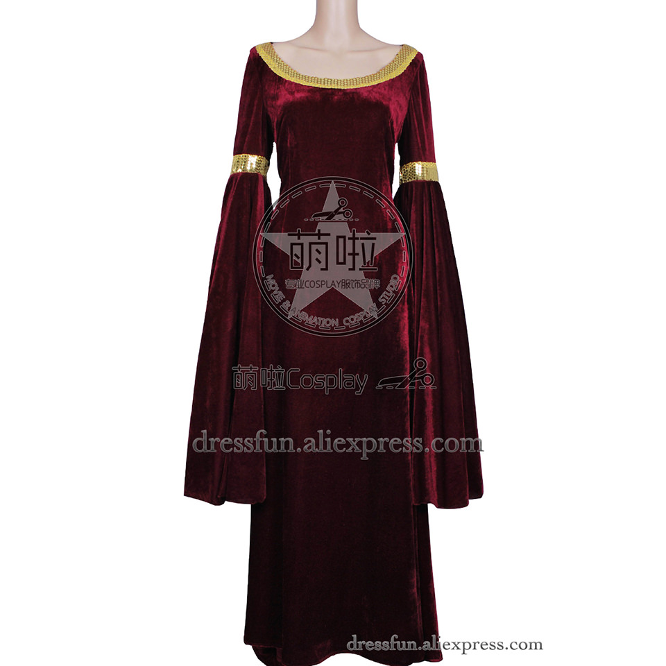 The Lord of the Rings Cosplay Arwen Costume New Red Velvet Dress Uniform Outfits Suit Halloween Fashion Party Fast Shipping