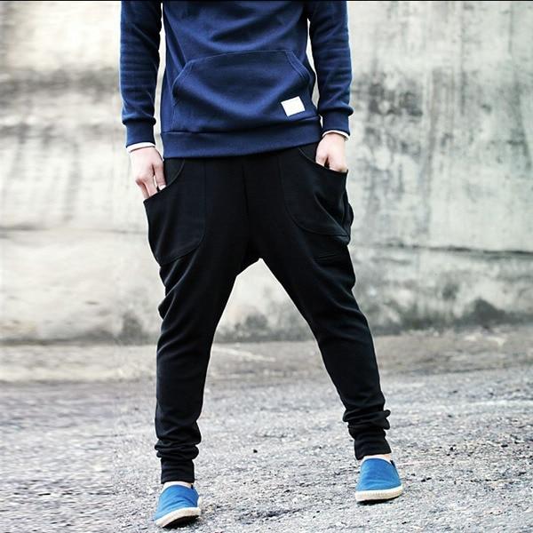 Algodón Hombre Casual Caen Pantalones Para Entrepierna Danza Baggy dCtQshr
