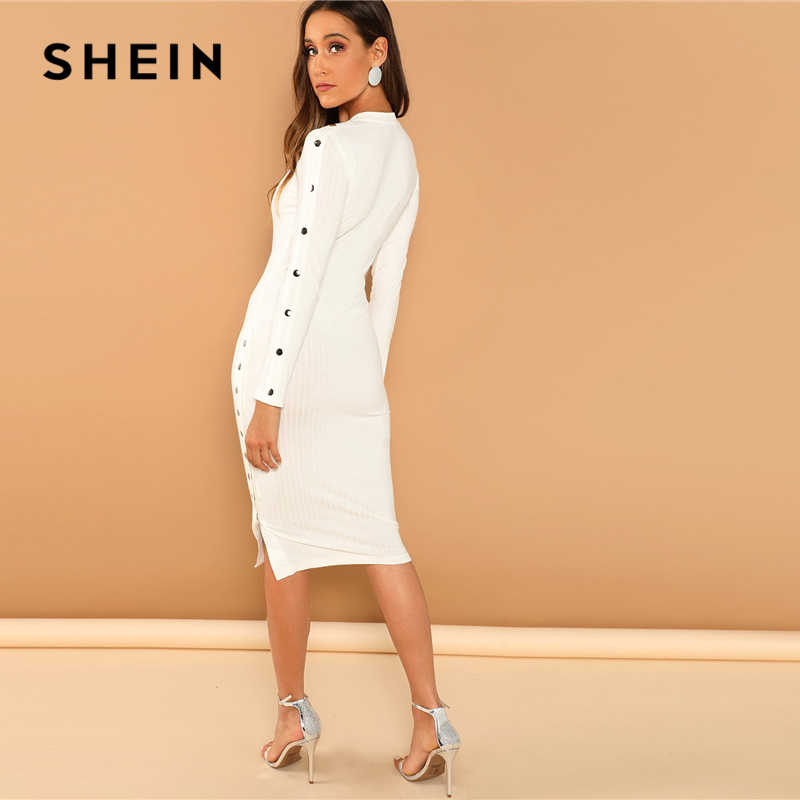33dc842244 ... SHEIN White Office Lady Solid Mock Neck Rib Knit Long Sleeve Bodycon  Skinny Dress Autumn Workwear ...
