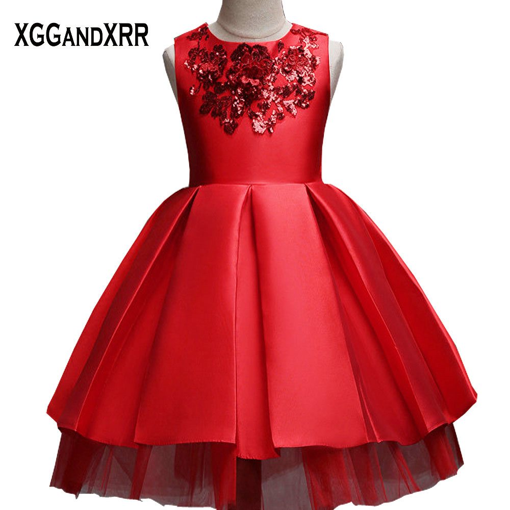 New Arrival Red Satin Ball Gown   Flower     Girl     Dresses   2018 Scoop Appliques Zipper Back Floor Length For Little   Girls     Dress