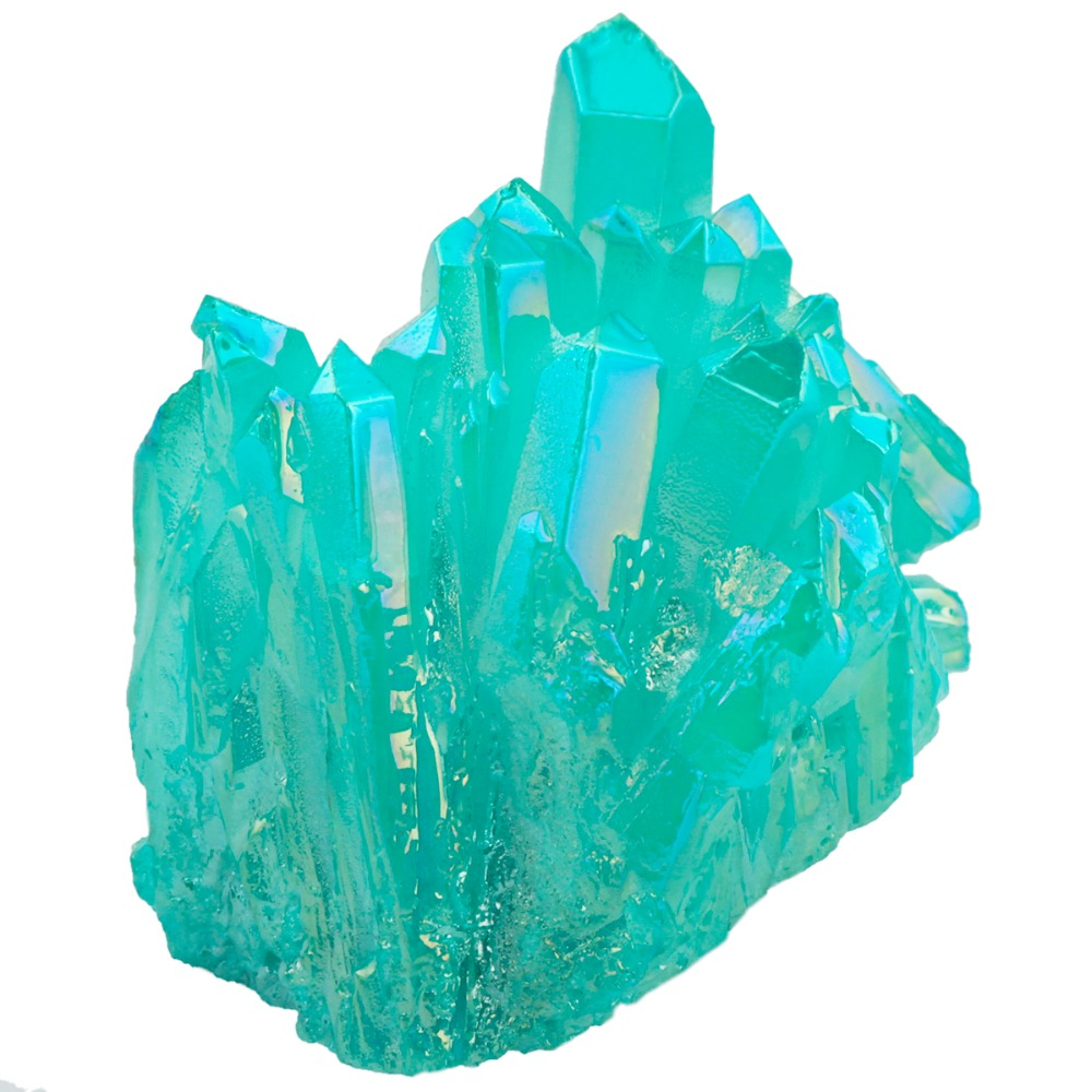 TUMBEELLUWA Turquoise Green Titanium Coated Crystal Rock Quartz Cluster Geode Druzy Gem Stone Home Decoration Specimen