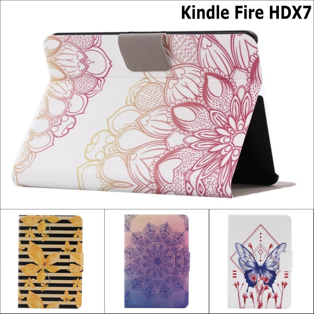 Fashion Butterfly flower guitar Card Slot PU Leather stand holder Case cover For Amazon Kindle Fire HDX7 HD X7 x 7