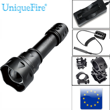LED Tactical UniqueFire T20 CREE XPG LED Flashlight Range 100-200M White Light Powerful 18650 Lantern+Charger+Gun Mount+Rat Tail