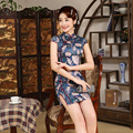 Short Length Women Summer Cheongsam Silm Female Chinese Traditional Dress Evening Party Dress with Flower Printing Qipao 18