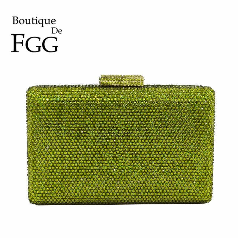 Boutique De FGG Green Crystal Diamond Women Evening Clutches Handbag and Purse Bridal Wedding Party Chain Shoulder Clutch Bag new women s retro hand beaded evening bag wedding bridal handbag chain shoulder bag stitching sequins diamond stone day clutches