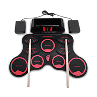 Children Portable Electronic Drums Digital Roll Up Drum Practice Set Kit for Kids Beginners Percussion Instruments