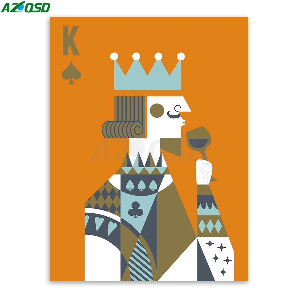 AZQSD Art Print Poster Poker King Queen Couple <font><b>Hipster</b></font> Abstract Wall Picture Canvas Painting No Frame Bedroon <font><b>Home</b></font> <font><b>Decor</b></font> PP064