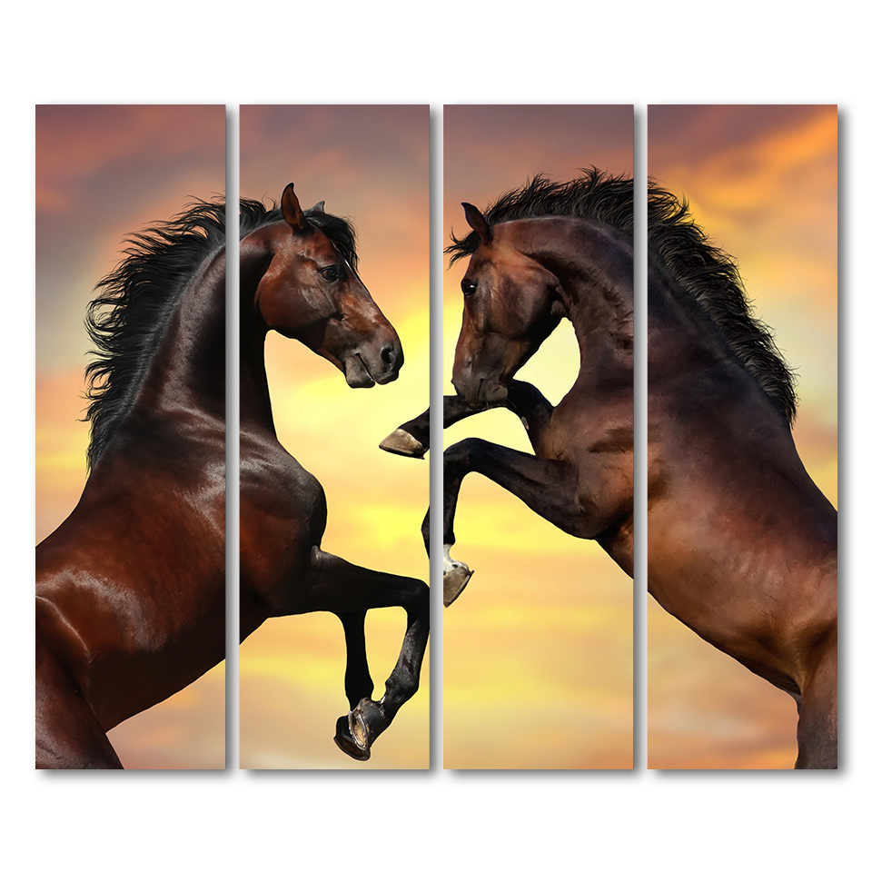 4 Pieces Running Horse Wall Art Canvas Pictures For Living Room ...