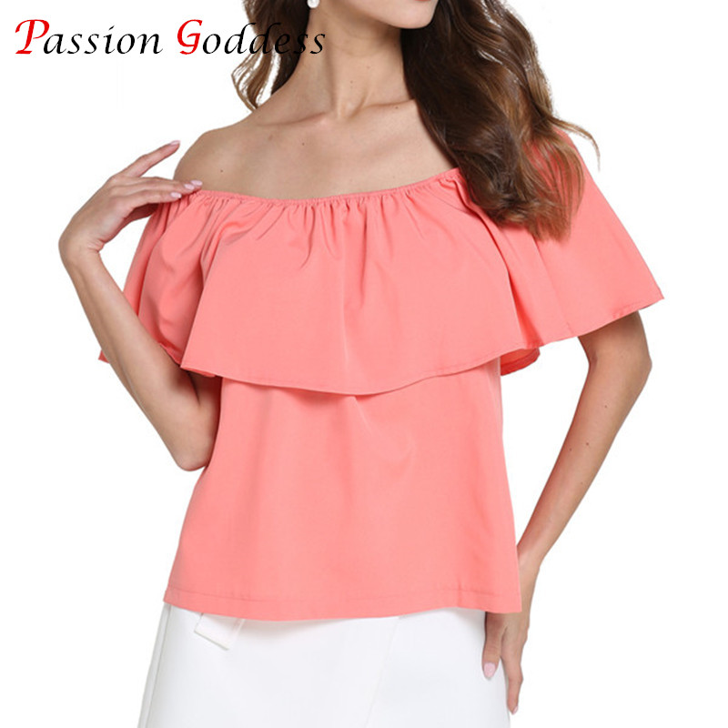 2017 Summer Plus Size Women Chiffon   Blouse     Shirt   Slash Neck Sleeveless Off the Shoulder Ruffles   Blouses   Ladies Tops White Red